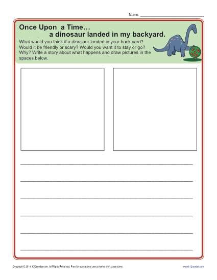 kindergarten writing prompt  dinosaur landed   backyard