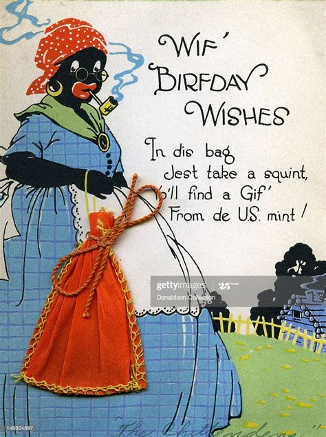 colorful vintage cartoon greeting card depicts  racist