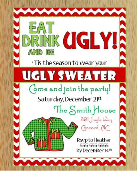 ugly christmas sweater invitation   storenvy