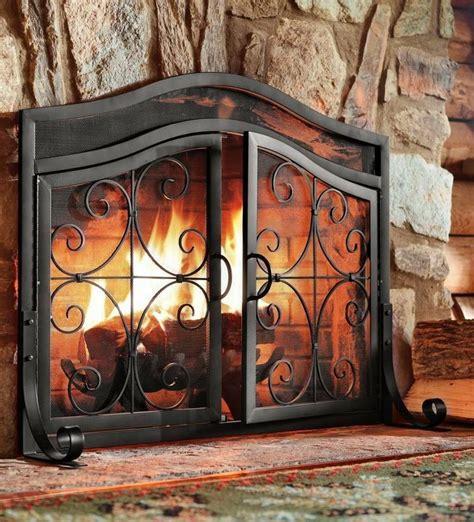 fireplace screen door black fire large guard wrought iron