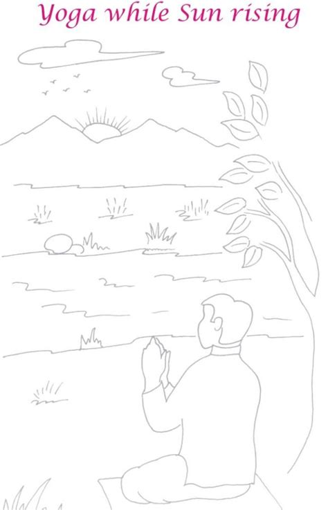 sunrise yoga scenery coloring page