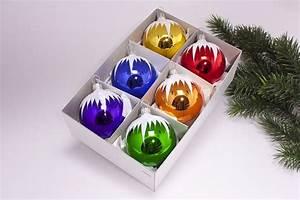 Weihnachtskugeln Aus Lauscha : 6 bunte weihnachtskugeln mit schneedach 6cm ~ Orissabook.com Haus und Dekorationen