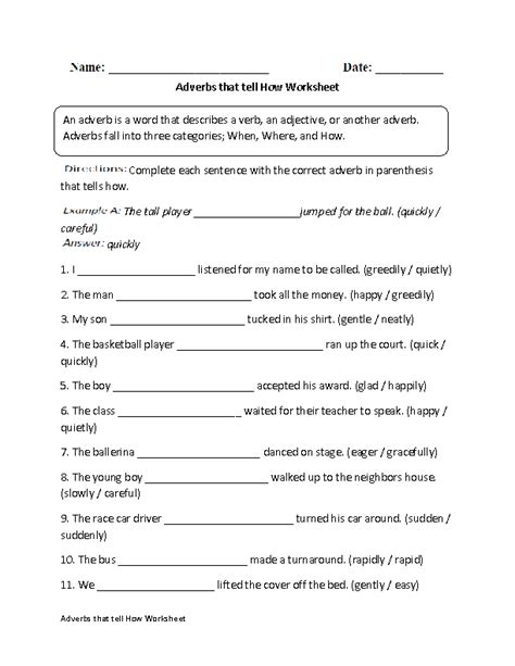 worksheets on adverbs that tell how regular adverbs worksheets adverbs that tell how worksheet