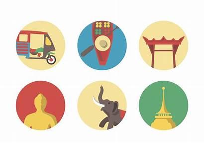 Icon Bangkok Vector Thailand Thai Temple Map