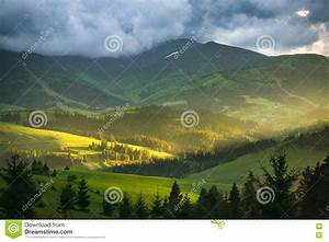 Mountain, Landscape, With, Storm, Clouds, Stock, Photo