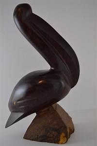 Wooden Pelican Sea Bird Nautical Figurine Polished Wood