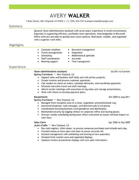 Exle Of Resume For Office Assistant by Best Store Administrative Assistant Resume Exle Livecareer