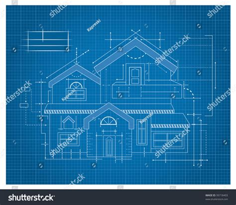 design blueprints modern house blueprint stock vector 99718403