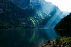 Lakes, Landscapes, Mountains, Sunlight, Sunray, Wallpaper