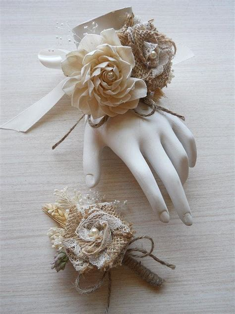 burlap sola flower wedding wrist corsage and or boutonniere for rustic country bohemian
