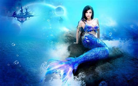 Blue Mermaid Hd Desktop Wallpaper  Widescreen High