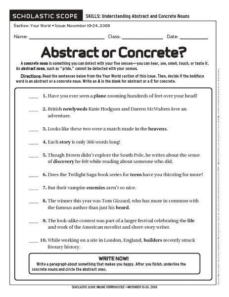 abstract or concrete worksheet lesson planet entirely