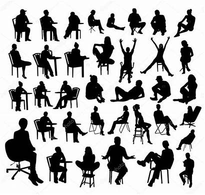 Sitting Silhouettes Vector Illustration Chair Crossed Legs