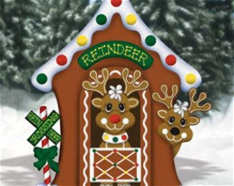 christmas gingerbread reindeer stable wood outdoor yard