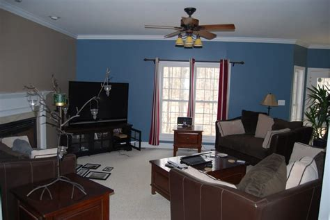 living rooms with accent walls we painted the living room a medium blue and the accent wall a