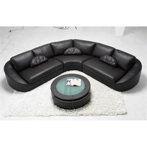 canapé d 39 angle en cuir noir arrondi achat vente canapé