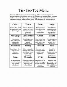115 best learning menus and choice boards images on With tic tac toe menu template