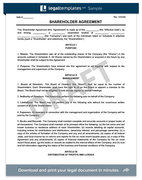 shareholders agreement template shareholder agreement create a free shareholder agreement form