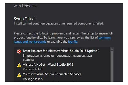 microsoft visual studio baixar connected services package failed