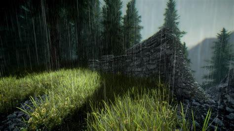 skyrim grass stone wall trees video games wallpaper