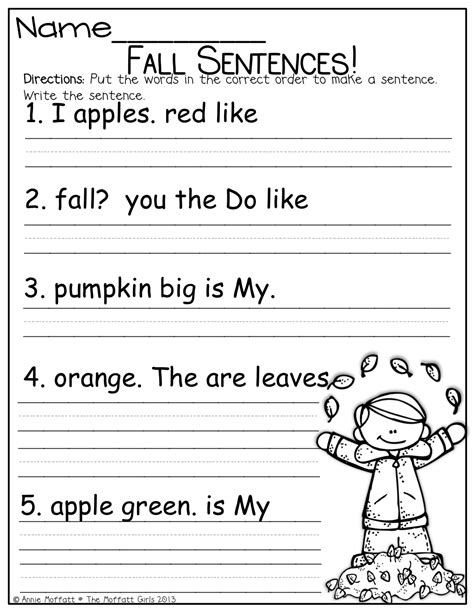 year 2 writing sentences worksheets fix up that fall sentence and so much more kindergarten
