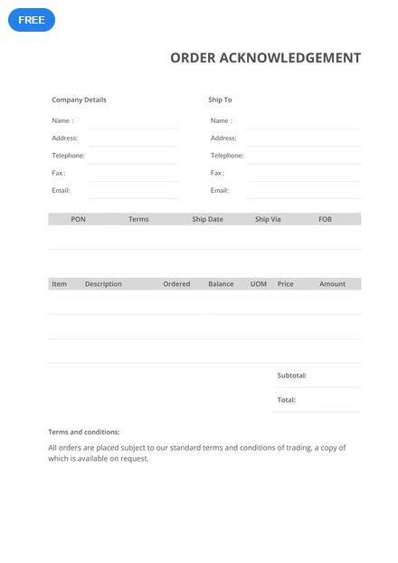 order acknowledgement templates word  words