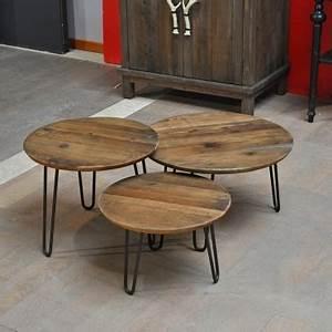 Table Basse Ronde Gigogne : table basse style industriel fabrication artisanale ~ Teatrodelosmanantiales.com Idées de Décoration