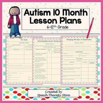 Speech Therapy 10 Month Autism Lesson Plan & Worksheets