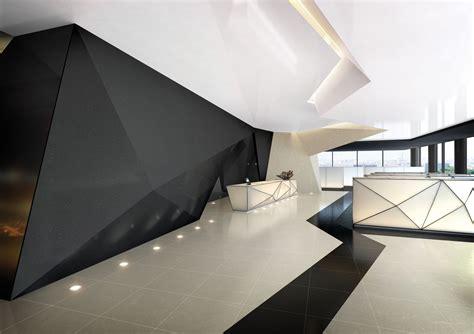 Futuristic Interior Design by Futuristic Interior Hi Macs The Geometric Design Used