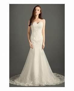classic mermaid sweetheart sweep train tulle wedding dress With tulle mermaid wedding dress