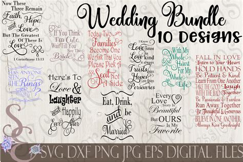 I thought this would look great with gold foil on a black tote. Wedding SVG Bundle 10 Designs