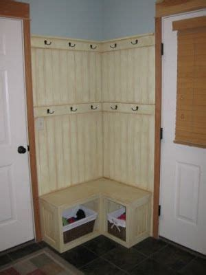 corner mudroom bench basket storage coat hooks and a small on 2616