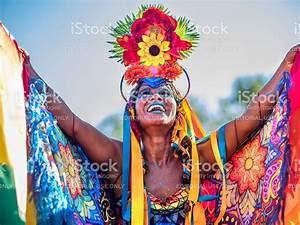 Brazilian Woman Wearing Colorful Costume For Rio Carnival ...