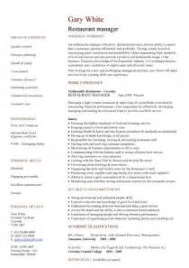 restaurant manager resume management cv template managers director project management cv exle