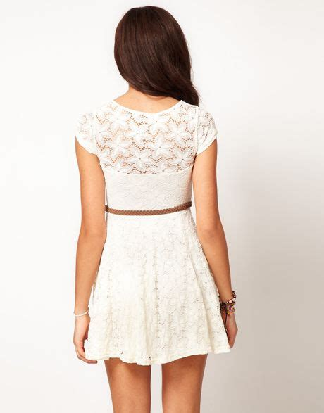 River Island Fluted Sleeve river island river island lace skater dress with cap