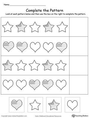 kindergarten patterns printable worksheets 608 | Complete The Pattern 4th of July Worksheet