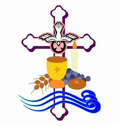Clipart Sacraments Prayer Baptism Clip Initiation Cross