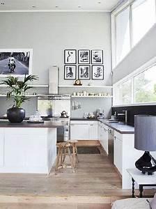 Cuisine Ouverte Sur Salon : cuisine ouverte sur salon blanche et peinture grise ~ Dallasstarsshop.com Idées de Décoration