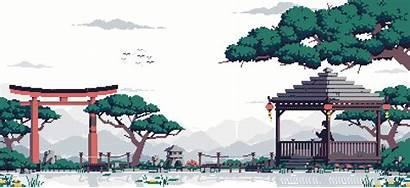Japanese Pixel Garden Animated Landscape Animation Pixelart