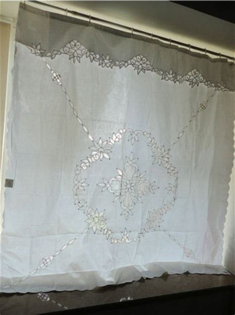 vintage battenburg lace white cotton shower curtain http