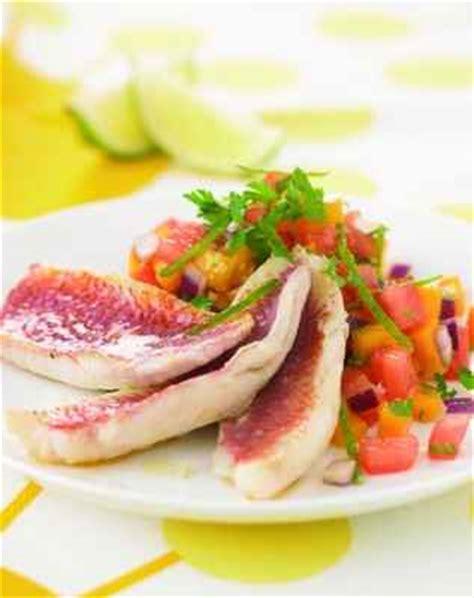 cuisiner du rouget recette filets de rougets à la salsa de mangue 750g