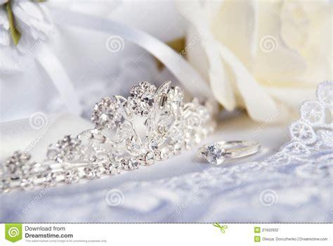 Wedding Accessories For Bride : Wedding Tiara (diadem) And Bridal Accessories Stock Photo