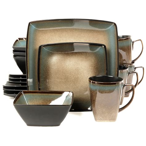 square dinnerware set gibson tequesta 16 square dinnerware set taupe 4601