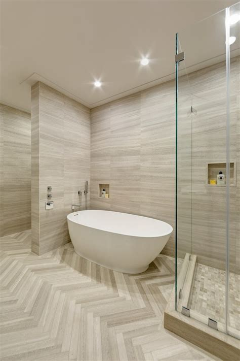 Bathrooms Designs - high ceiling herringbone tile floors by artistic tile on inspirationde