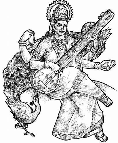 Saraswati Goddess Coloring Hindu Drawing Pages Gods