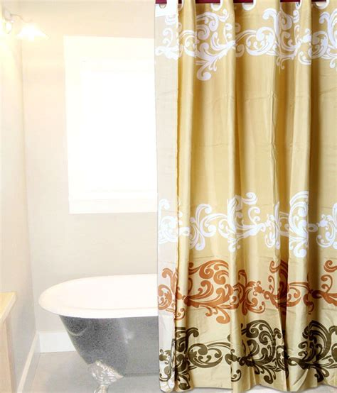 hookless shower curtain skap gold and brown polyester hookless shower curtain