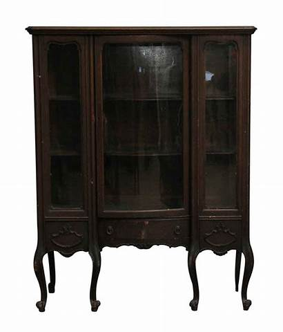 Curio Cabinet Antique Wooden Curved Cabinets Leg