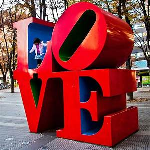 3d four letter words robert indianas love sculptures With letter statues