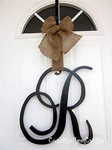 single letter monogram wooden door decor 18 inches by With single letter monogram for front door