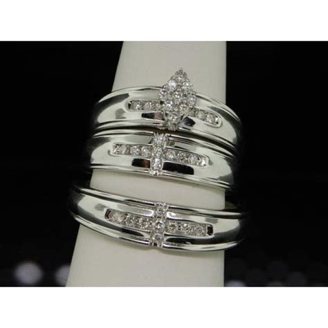 sparkling trio marriage rings half carat round cut diamond